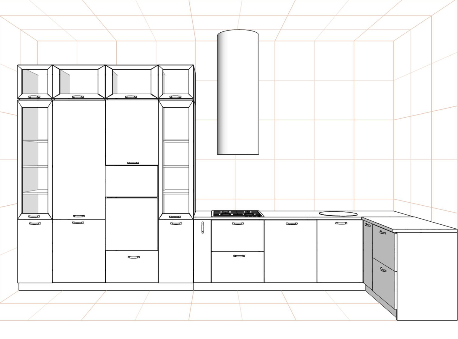 3D проект кухни - Orange Cat 380