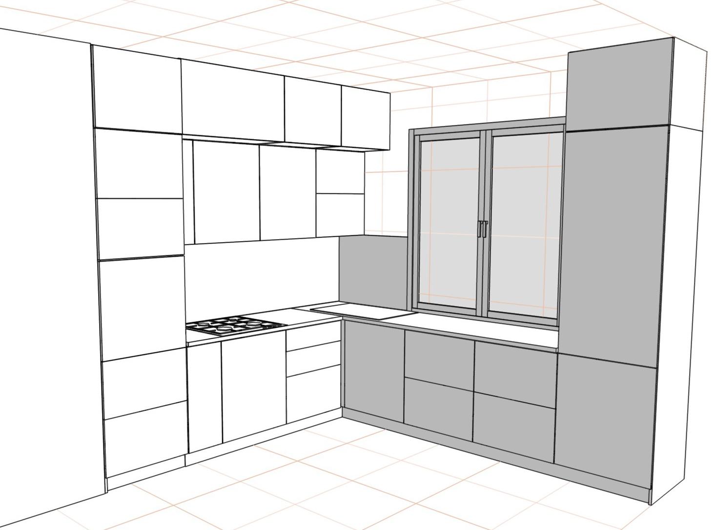 3D проект кухни - Orange Cat 381
