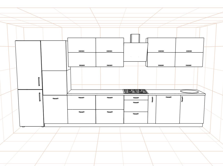 3D проект кухни - Orange Cat 382