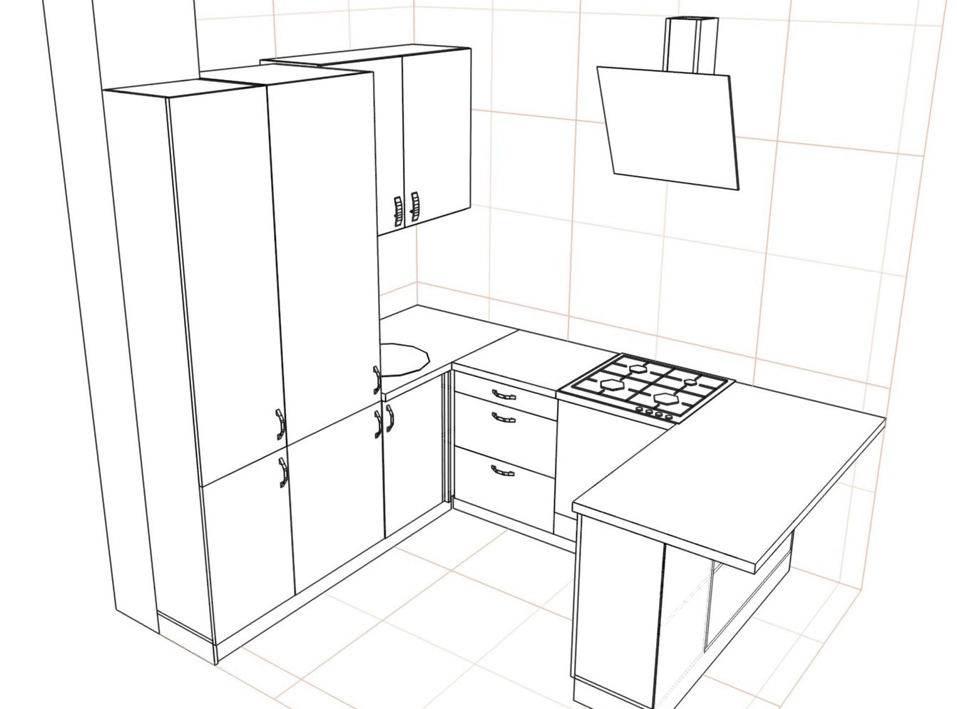 3D проект кухни - Orange Cat 383
