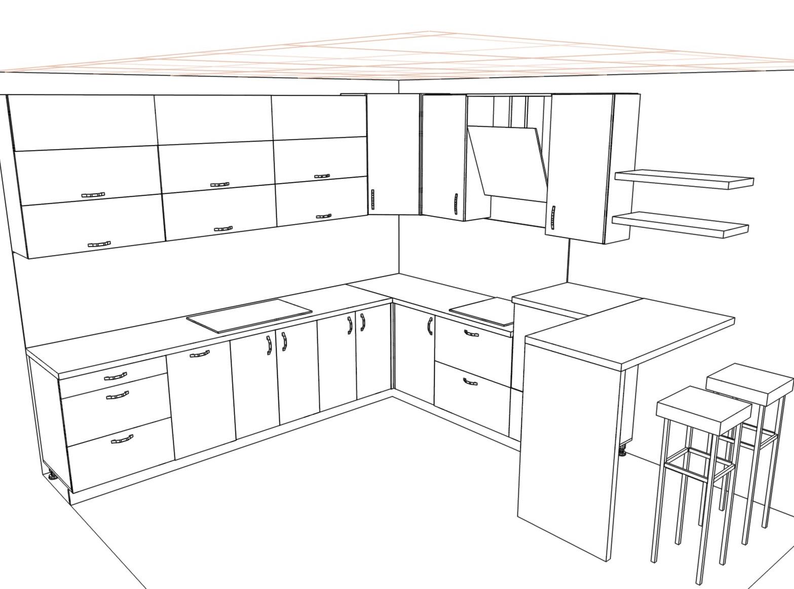 3D проект кухни - Orange Cat 384