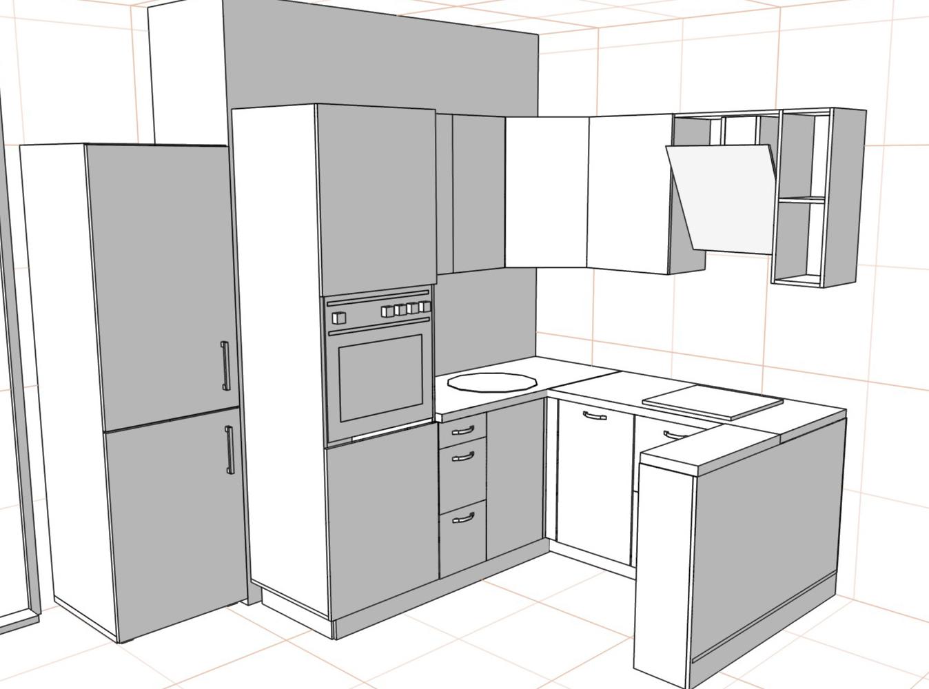 3D проект кухни - Orange Cat 387