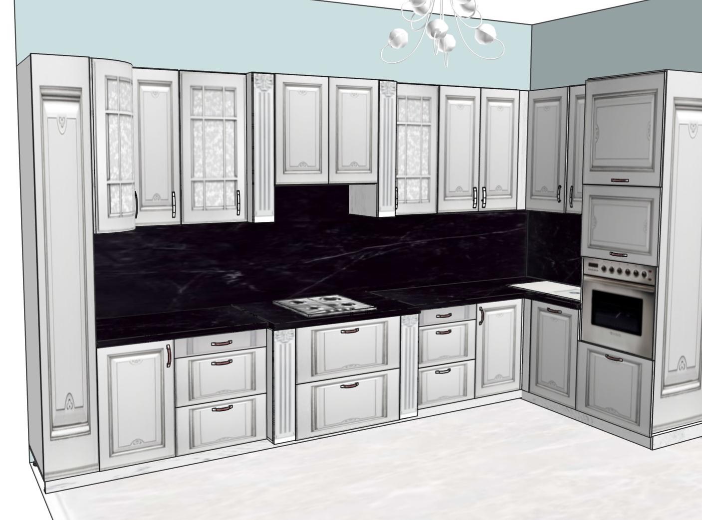 3D проект кухни - Orange Cat 388